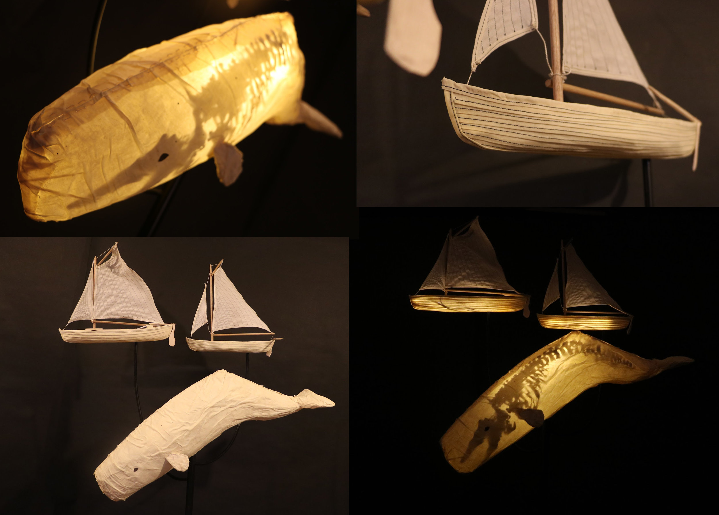 Sperm Whale Skeleton Lantern w/boats