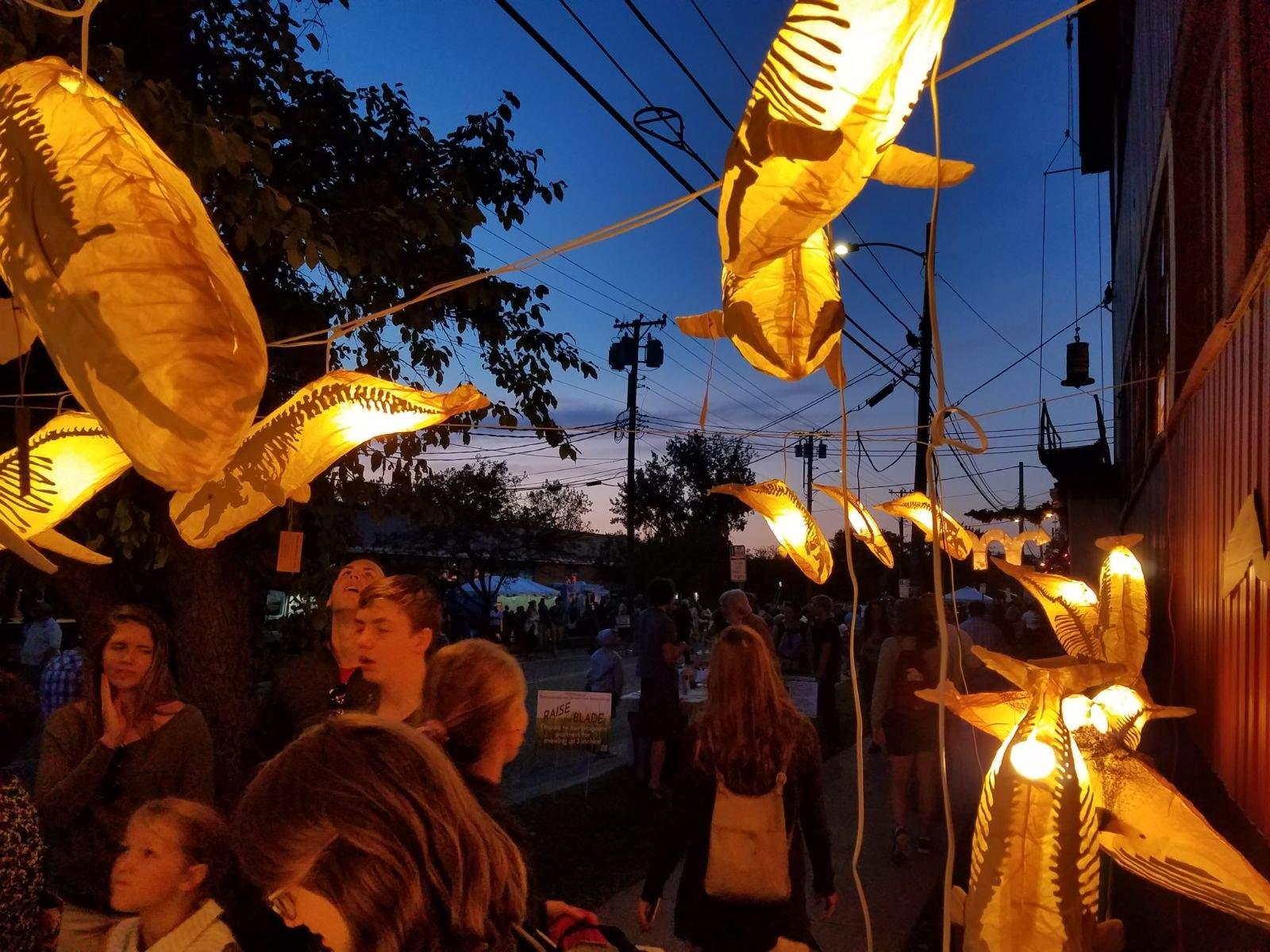 Whale Lanterns at Art Hop 2018