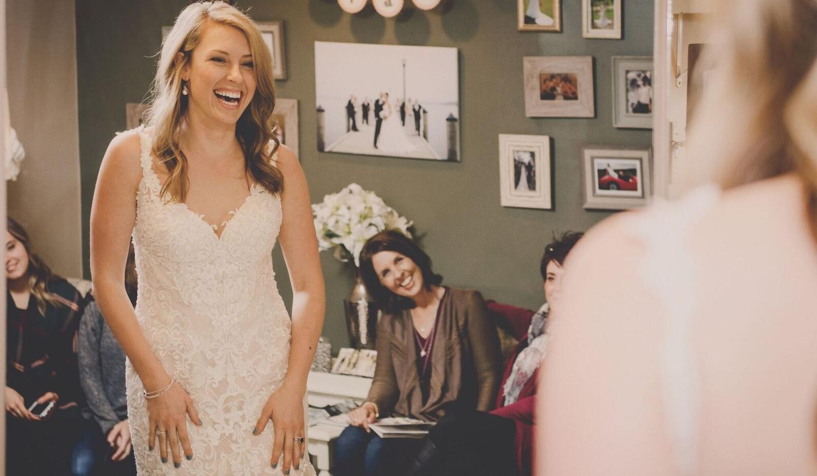 Book a private bridal suite for you & your guests at Bon Bon Belle Bridal.