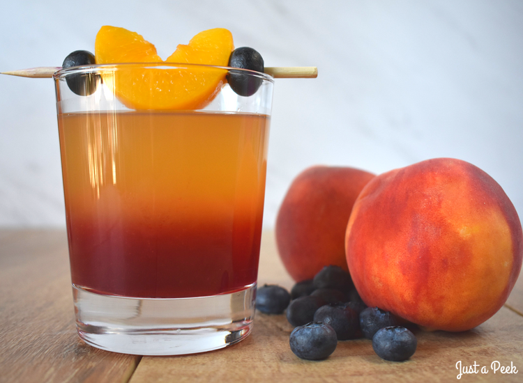 Peach & Blueberry Whiskey Cocktail