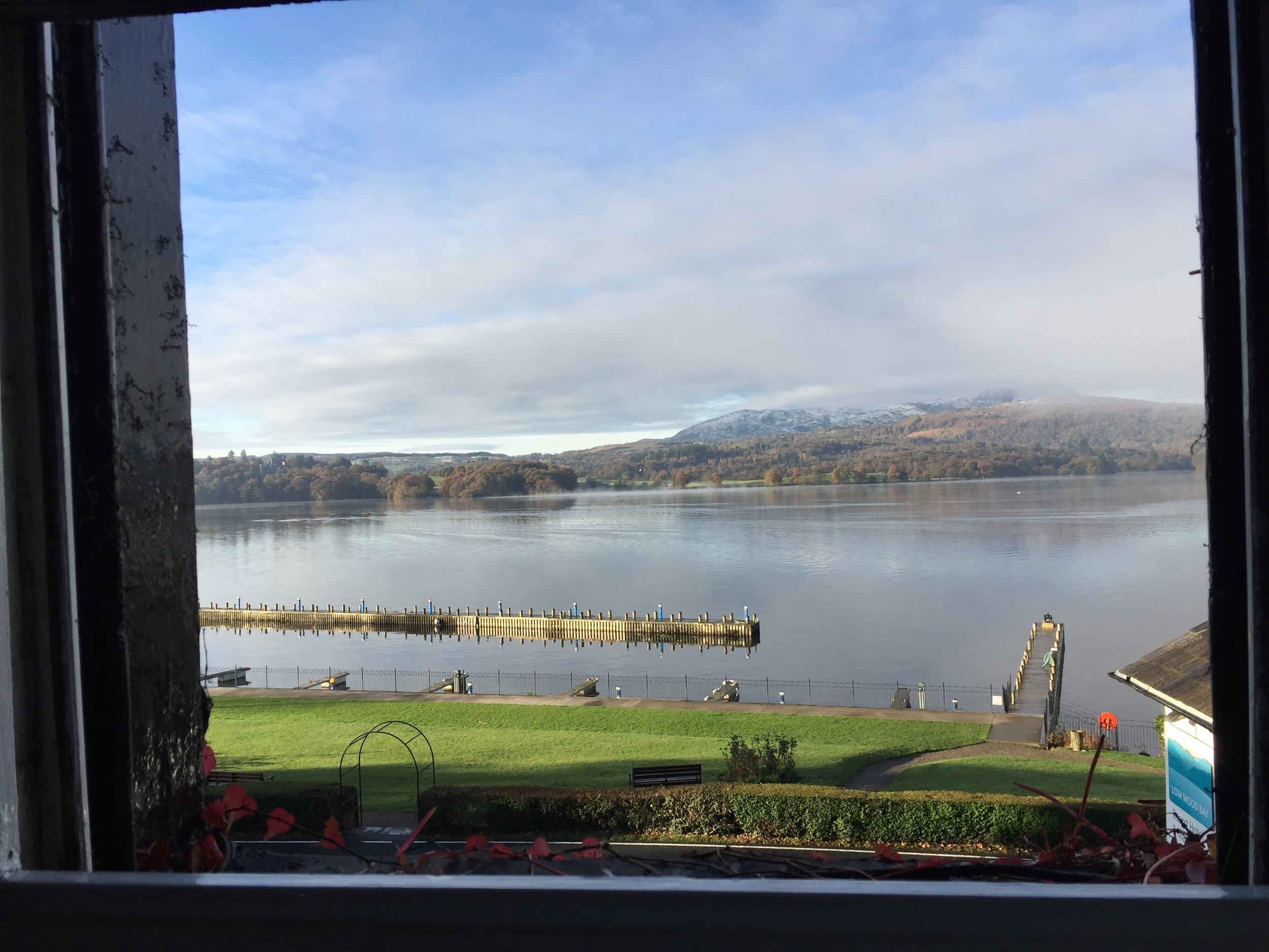 View of Windermere from the window of my room at Low Wood Hotel.