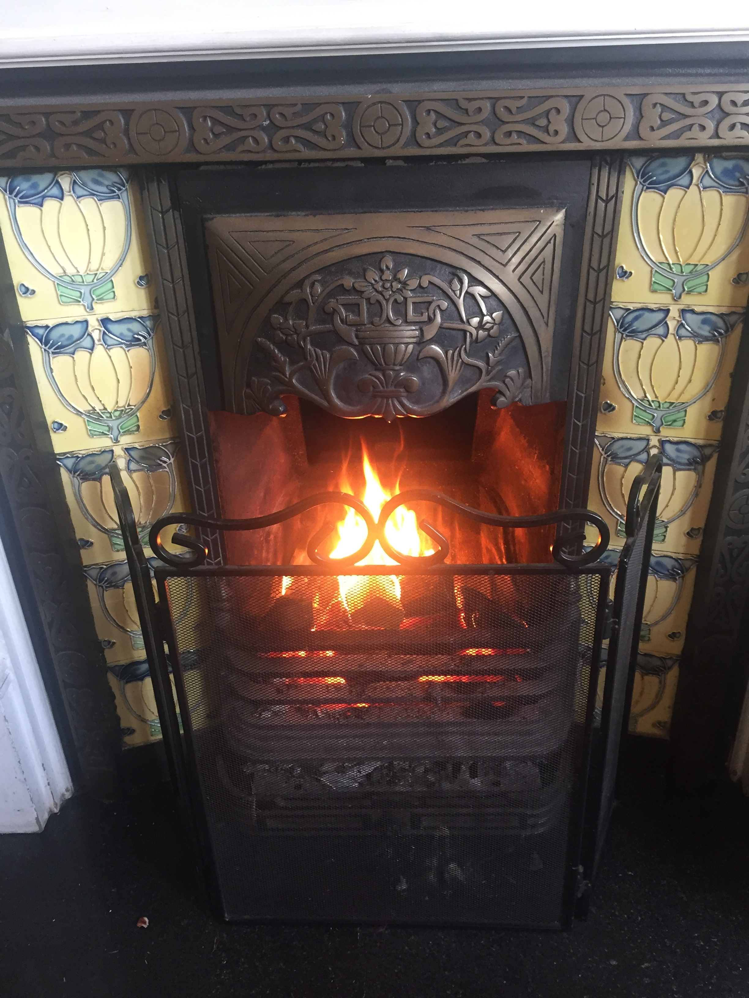 Open log fire at Low Wood Hotel
