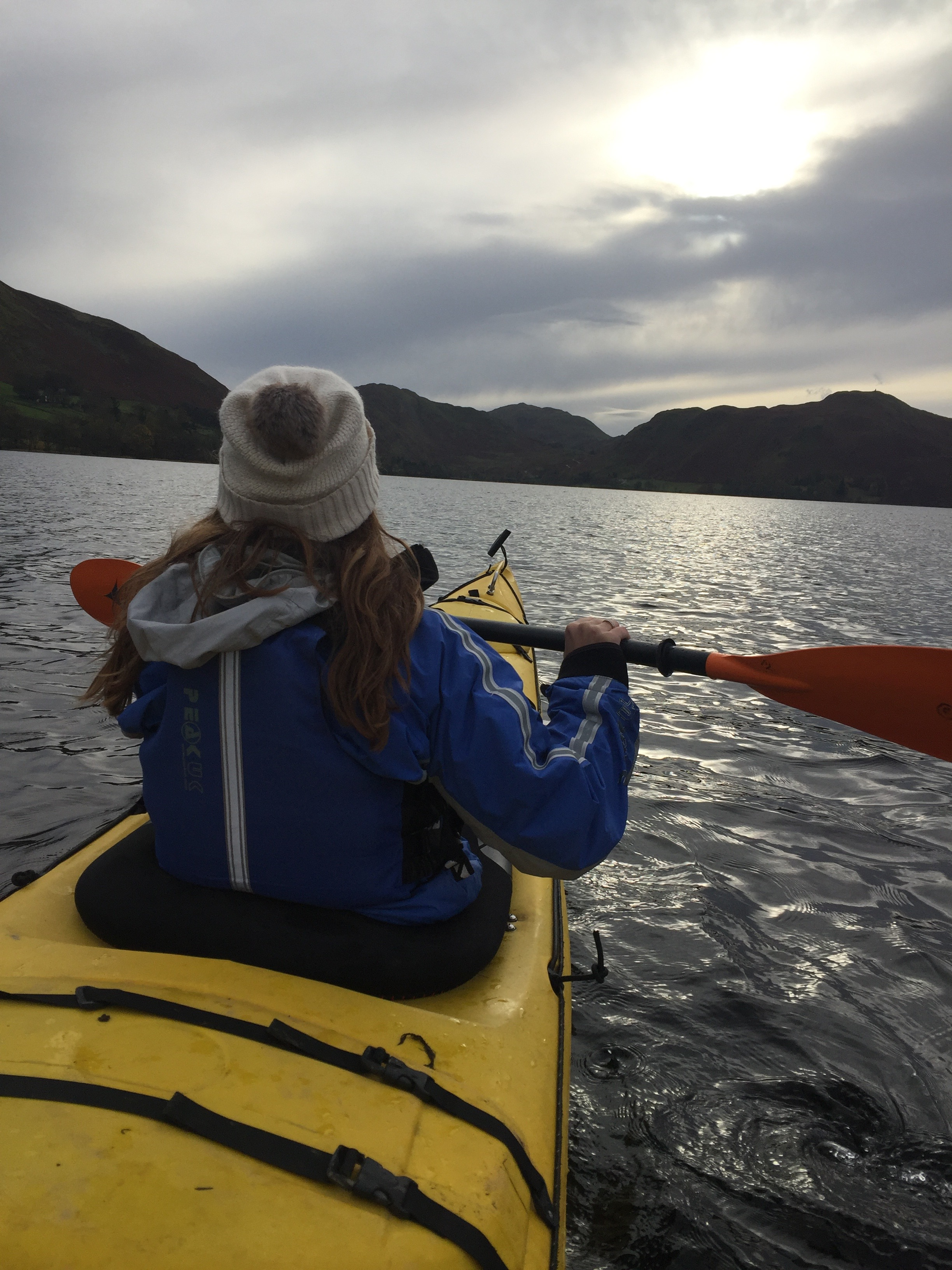 Exploring Ullswater at sunset by Sea Kayak