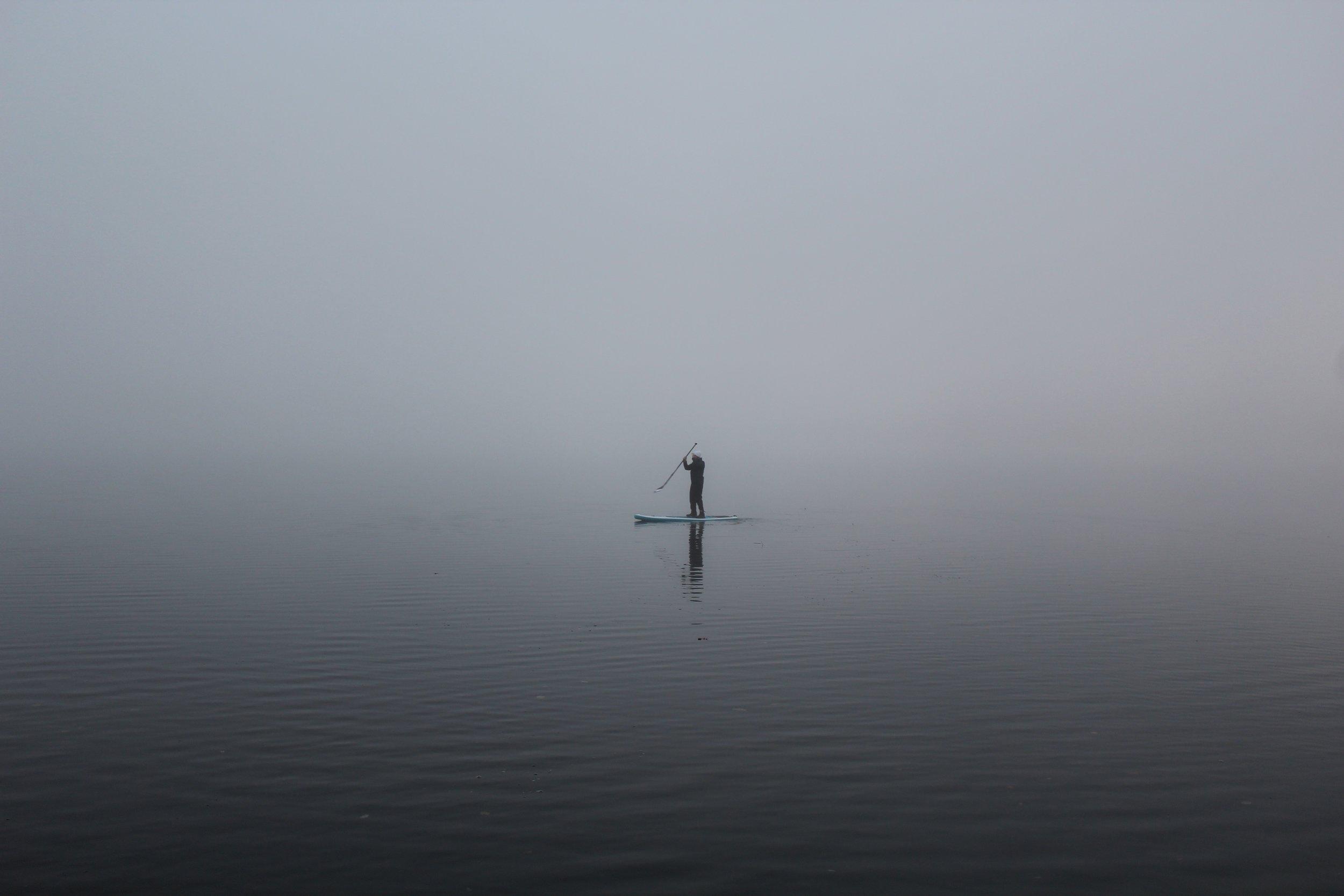 Paddling in dense fog on Windermere