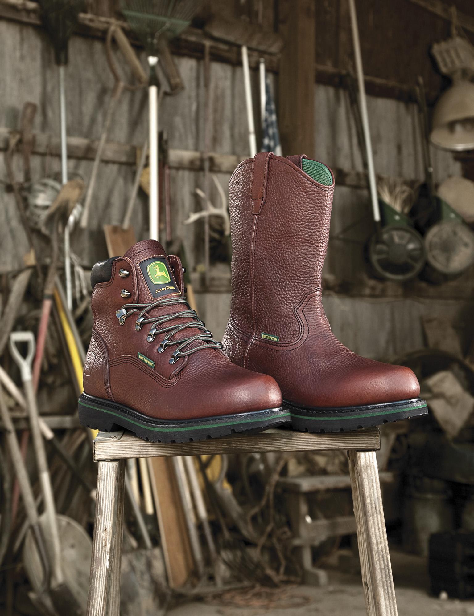 Farm boots made by John Deere