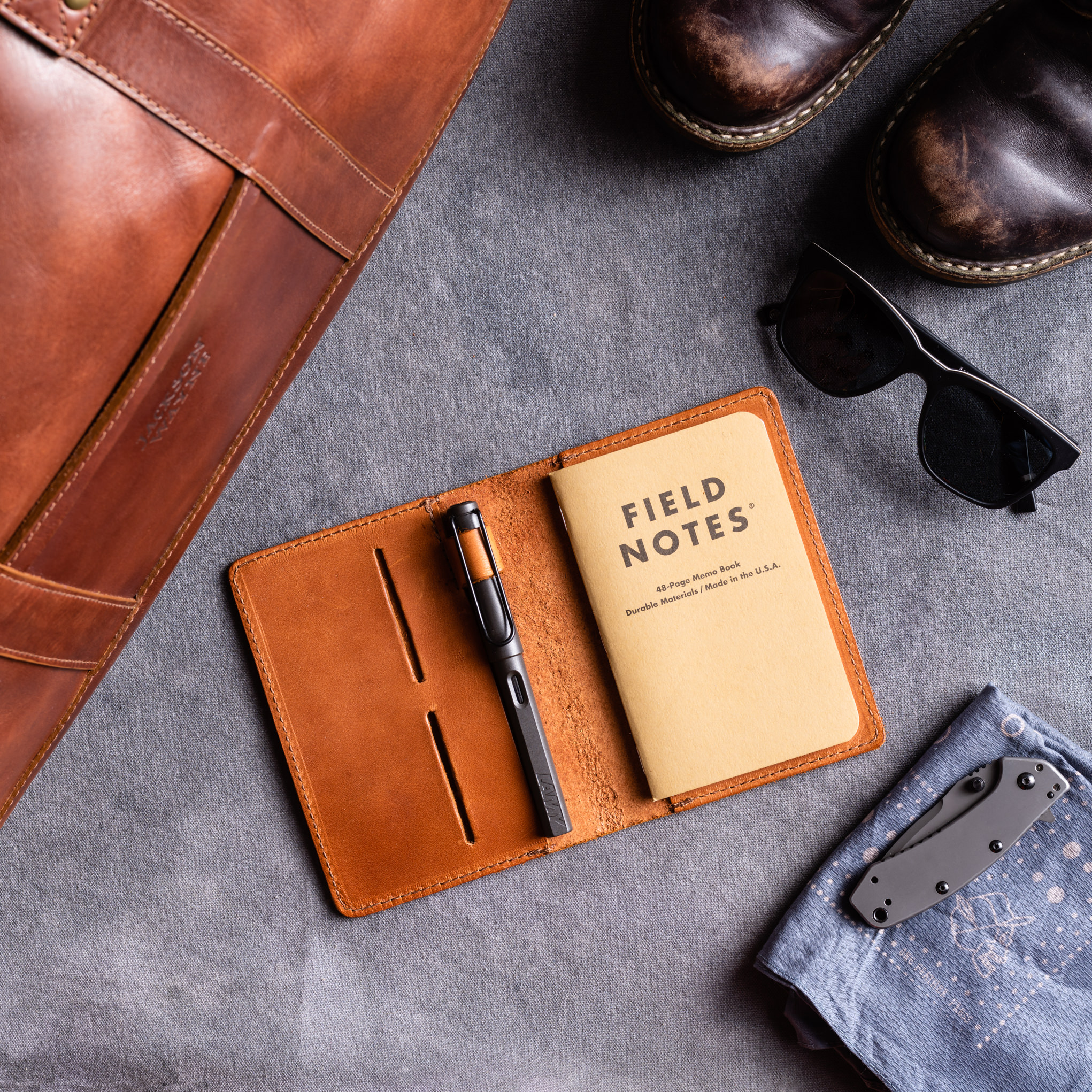 Layflat product photography for a leather goods company
