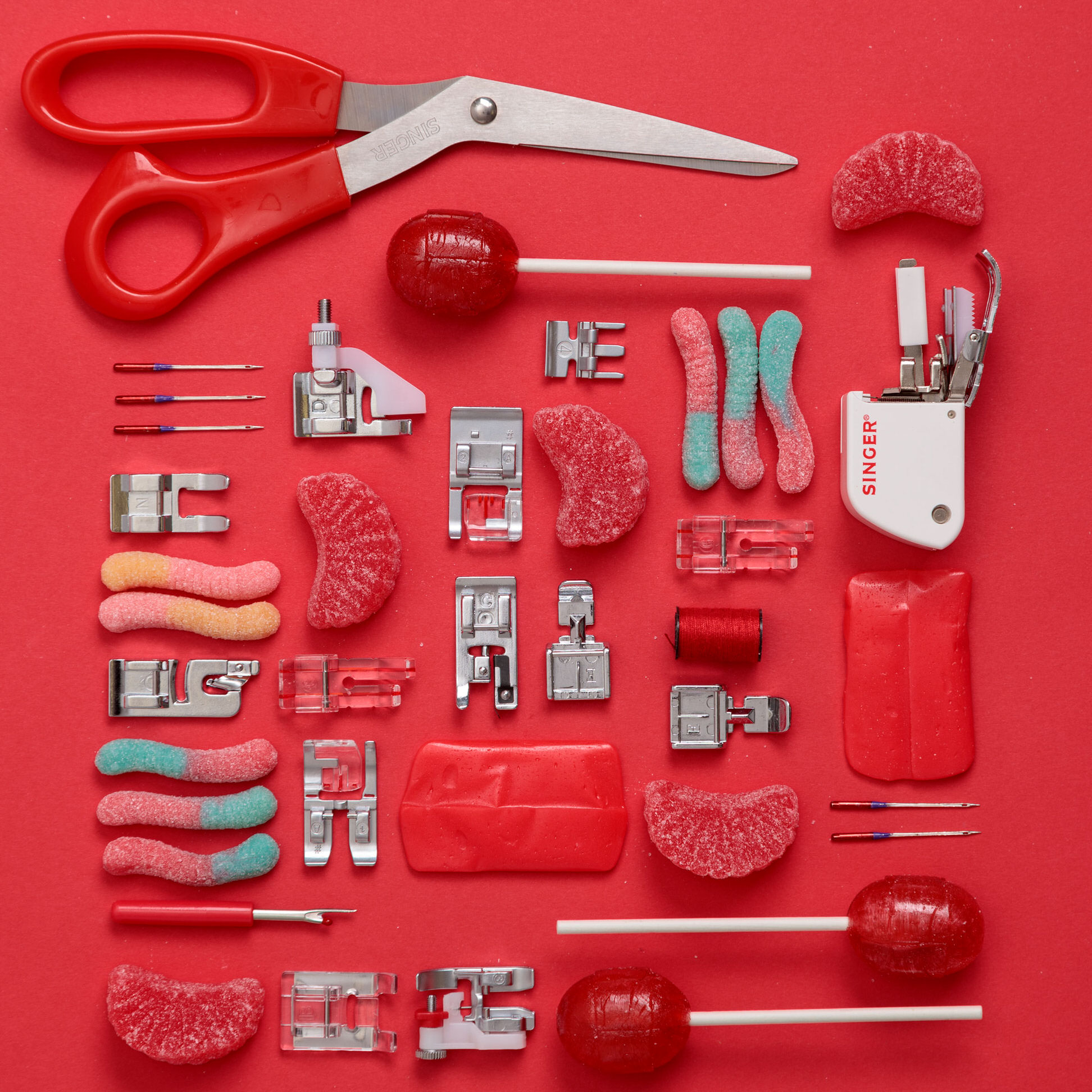 Flatlay photography for Singer Sewing Company