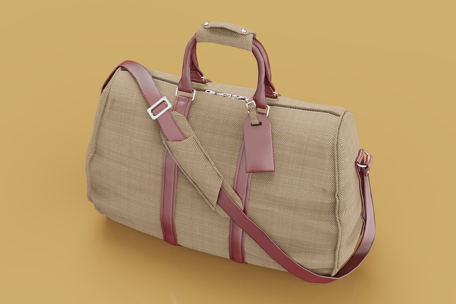 Product photography of a duffel bag using CGI