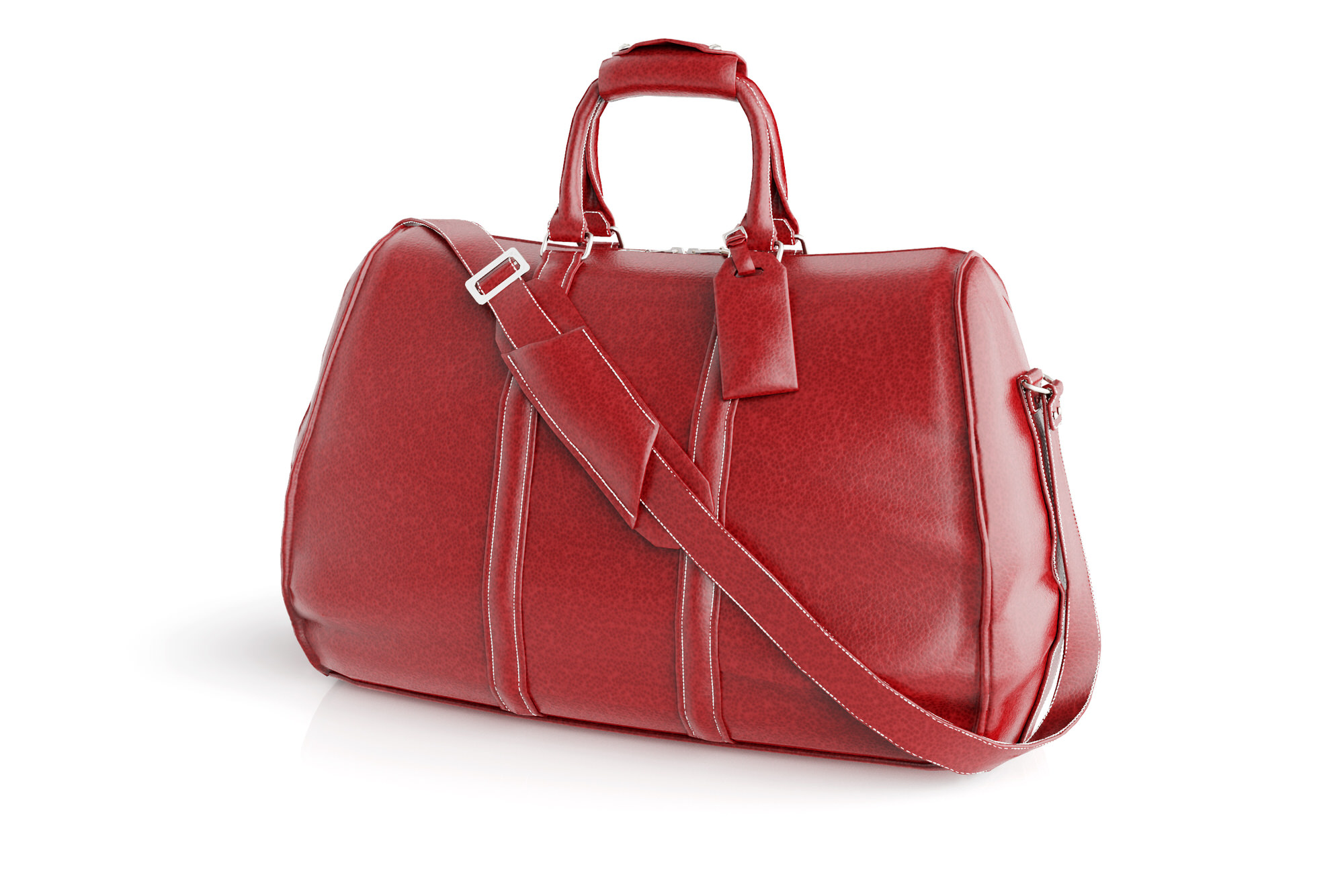 An ecommerce photograph of a red leather bag generated using Keyshot