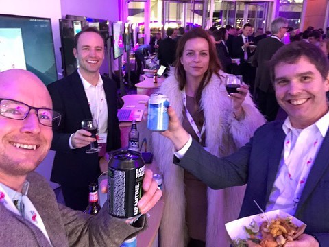Here's the Axon Vibe team celebrating winning The Billion Journey Project in London tonight 🍾 #futureofmobility