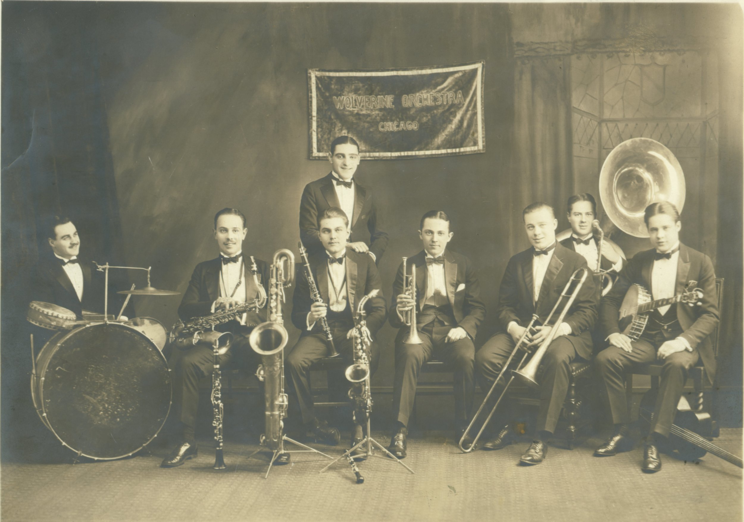 The Wolverine Orchestra poses at Doyle's Dancing Academy in Cincinnati, in January 1924. Bix Beiderbecke is seated fifth from the left. Courtesy of the Richardson-Sloane Special Collections Center of the Davenport (Iowa) Public Library.
