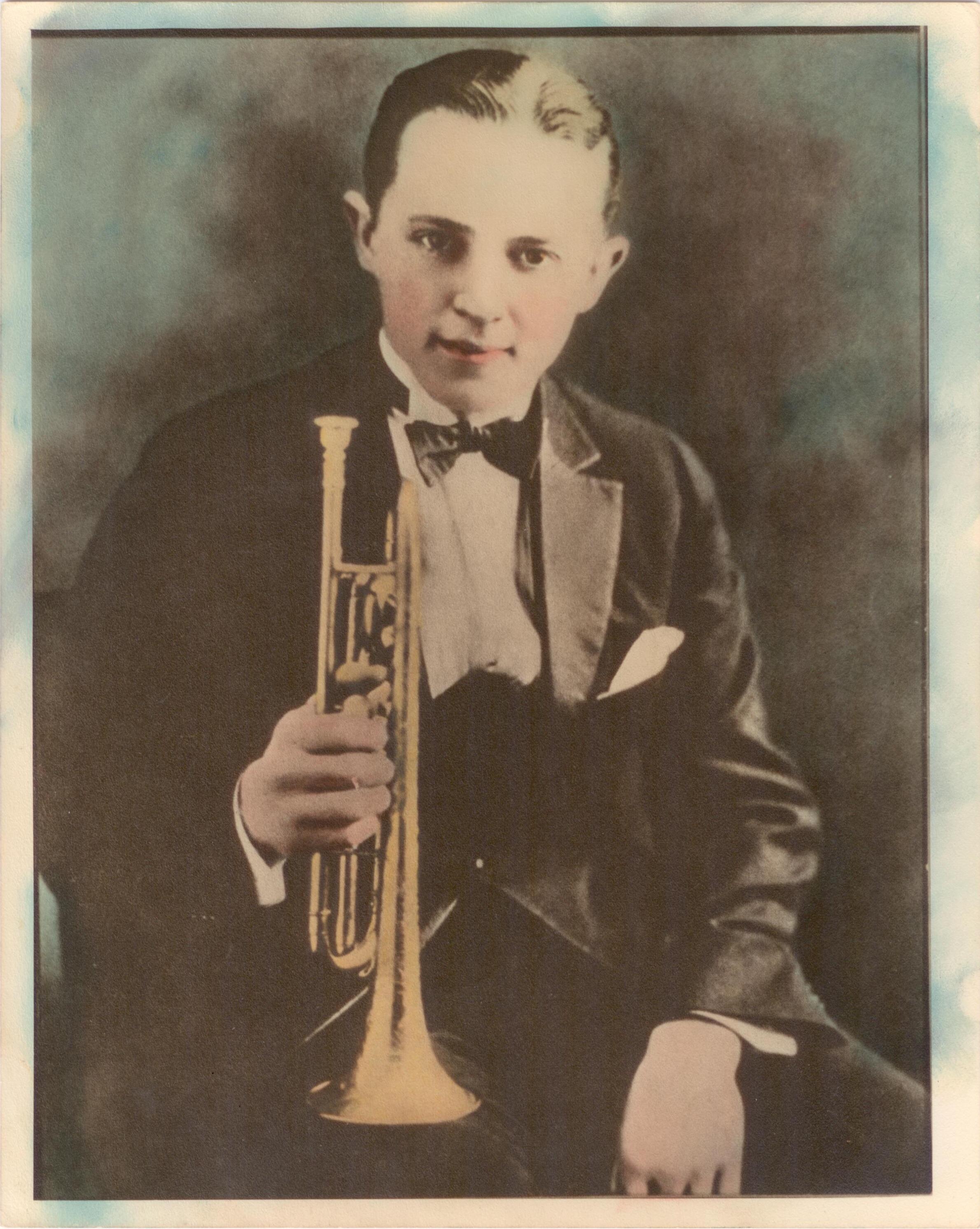 A colorized photo of Bix Beiderbecke, 1924. Courtesy of Indiana University.