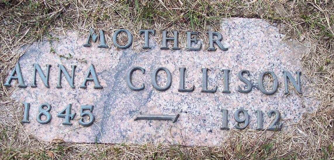 Gravestone of Ann Wolfe Collison, Saint Joseph's Cemetery, Carroll, Iowa (Geo. Clinton / Find a Grave)