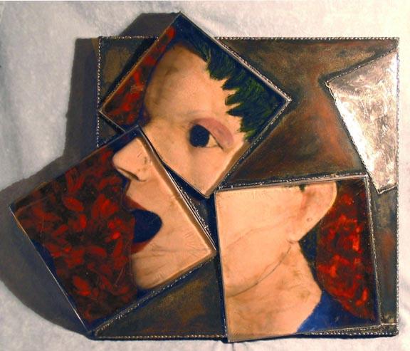 Her Laughter  by Janusz Walentynowicz (Kilncast Glass, Steel and Oil Paint)