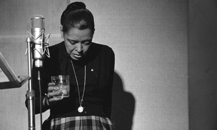 Billie Holiday, last recording session, studio, NYC 1958 by Milt Hinton