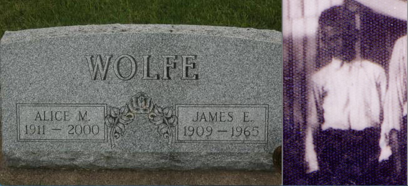 Wolfe gravestone, Lost Nation (user aeiou02 / Ancestry.com)