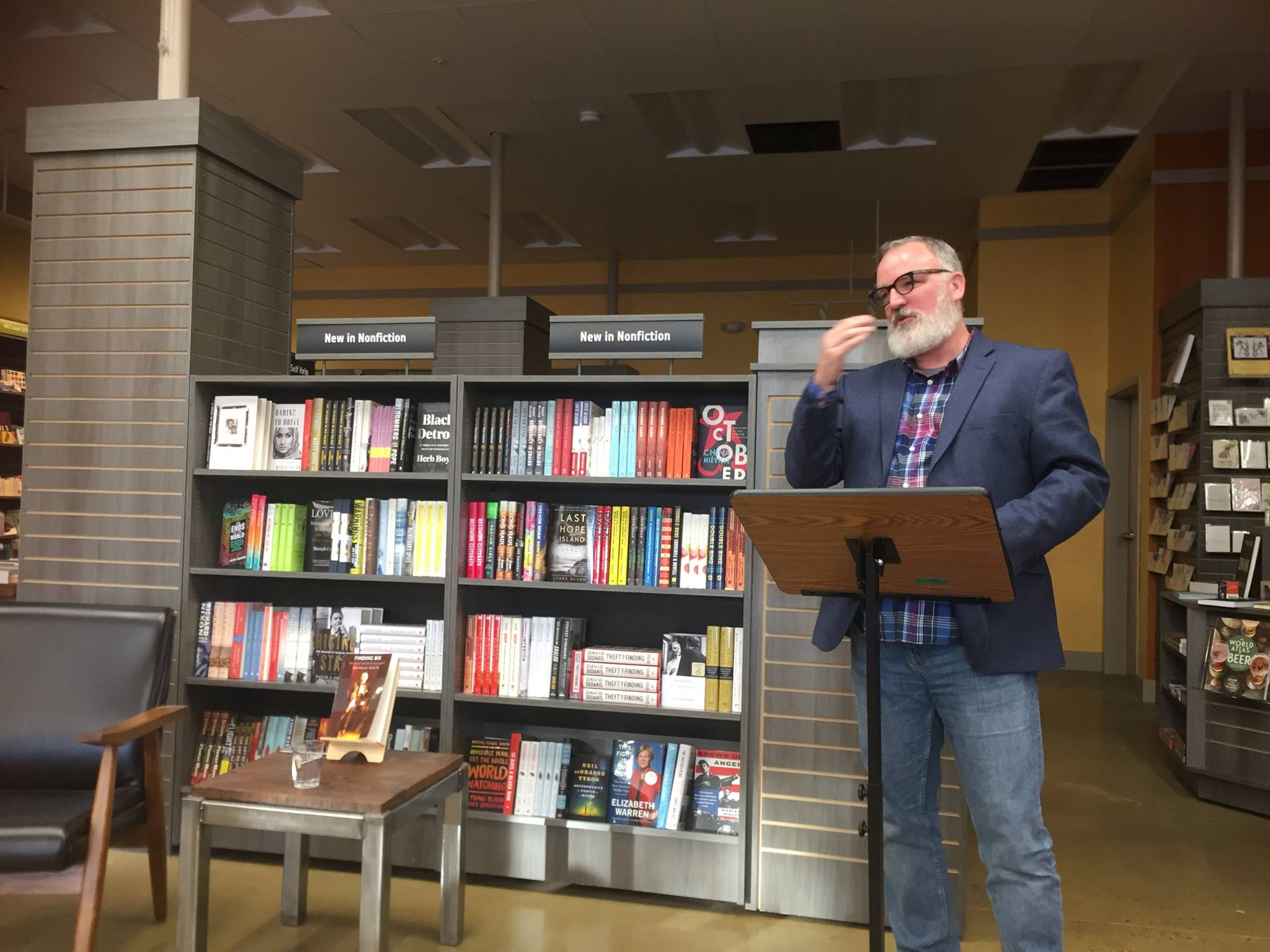 My friend Rebecca Goldfine took this photo of my reading at Print, in Portland, Maine. And yes, that is the same shirt-jacket combo as my reading in Charlottesville.