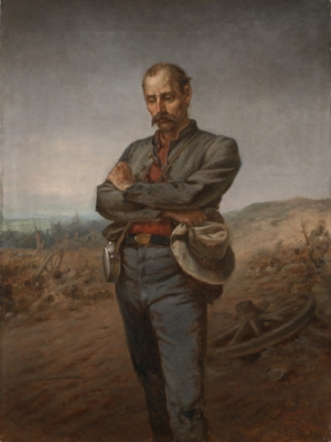 This   painting   of a downcast Confederate soldier by John Adams Elder, titled  Appomattox  and made about 1888, was used as the model for a   statue   erected in Alexandria the next year.