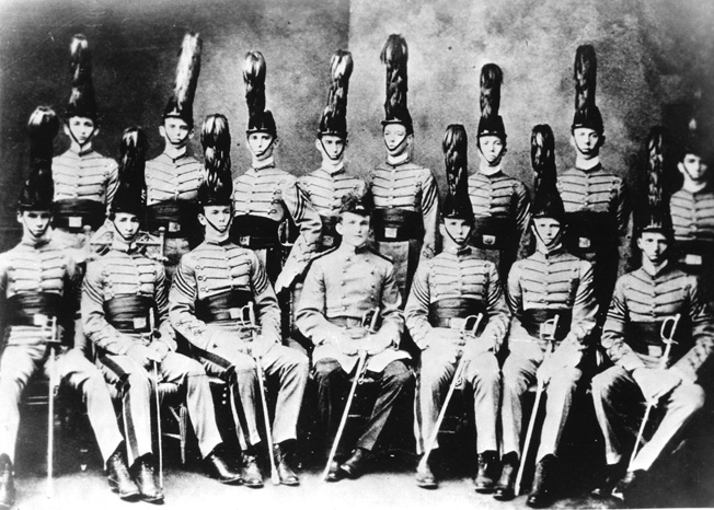 VMI cadets, 1901, wearing shakos. That's   George C. Marshall  , front row center.