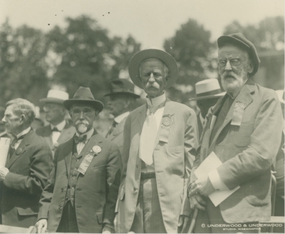 Members of the Class of 1861 on Grounds for the centennial in 1921 (Courtesy of University of Virginia Special Collections)