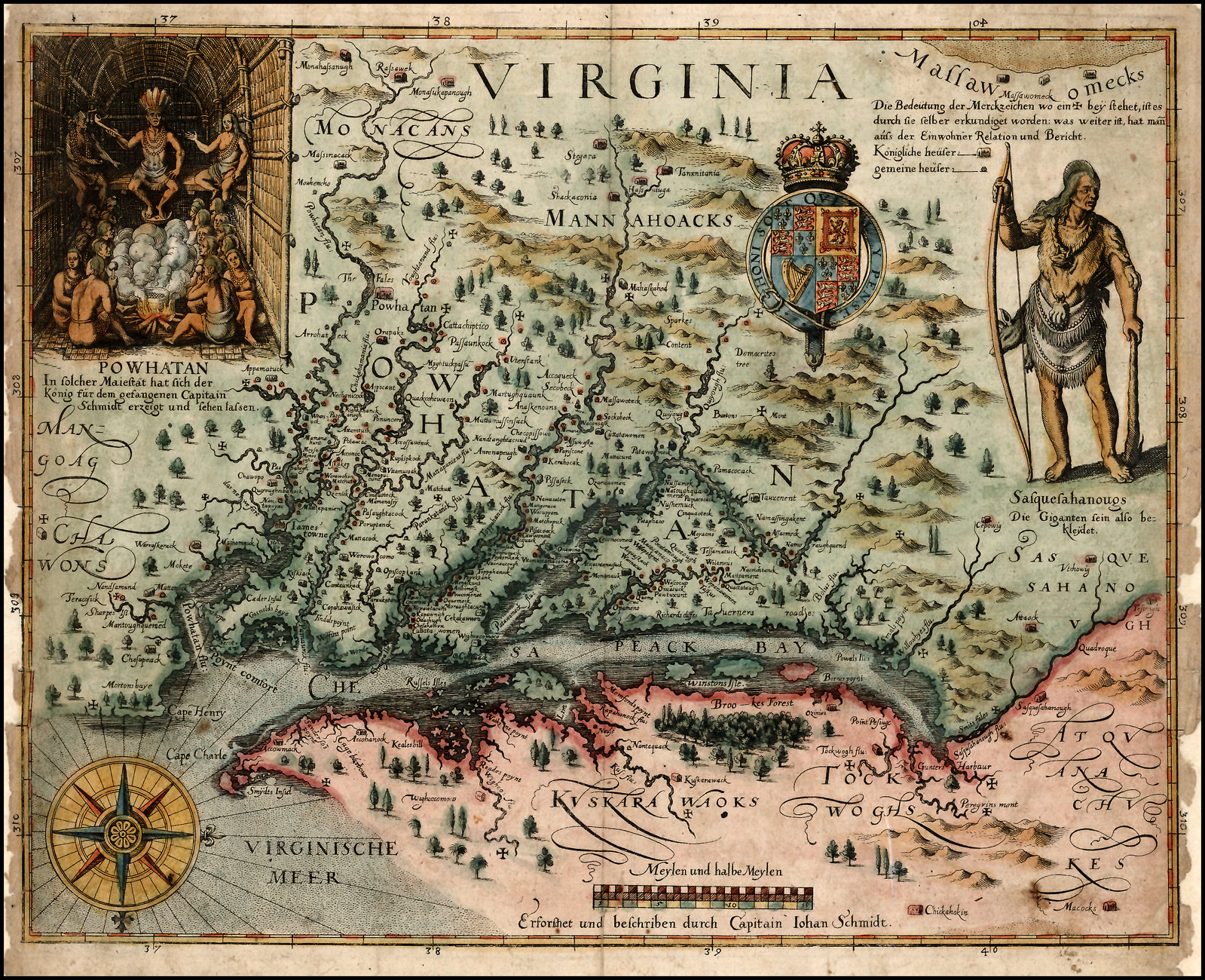 A colored version of John Smith's map of the Chesapeake Bay region, compiled in 1608 and published in 1624