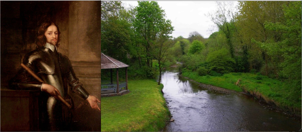Henry Ireton, attributed to Robert Walker, ca. 1650 (Shakespeare Birthplace Trust); Galey River, Athea, County Limerick, from the John Paul II footbridge in the village centre by P. L. Chadwick (Creative Commons)