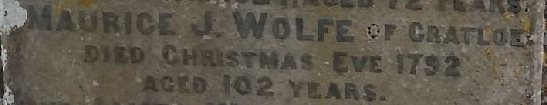 Detail from the   gravestone of Anne Marie Woulfe  at Templeathea graveyard in western Limerick