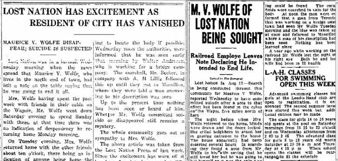 Details of the  Oxford Mirror , August 18, 1927, page 1, and the  Davenport Democrat Leader , August 12, 1927, page 16 (NewspaperArchive.com)