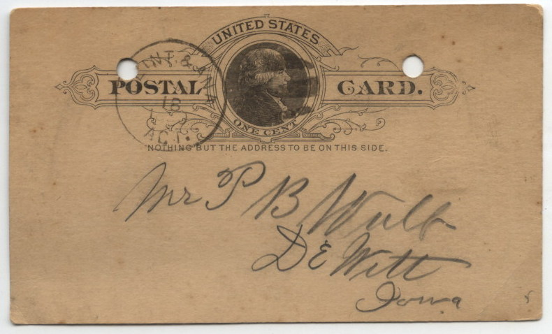 A   card addressed to P. B. Wolfe   and postmarked February 18, 1890