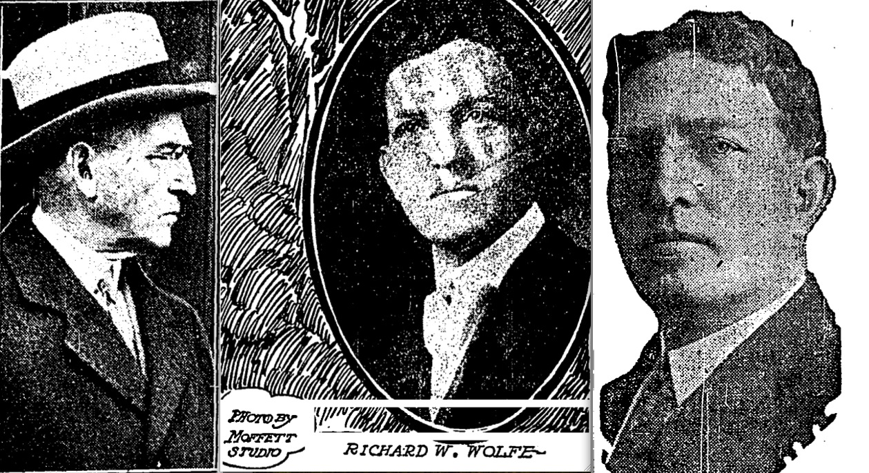 Portraits of Richard W. Wolfe (left to right) from the  Chicago Tribune , May 7, 1931;  Chicago Tribune , May 30, 1909;  Chicago Tribune , November 12, 1916