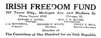 from a display advertisement for the Irish Freedom Fund that appeared in the  Chicago Tribune , August 8, 1919, page 4