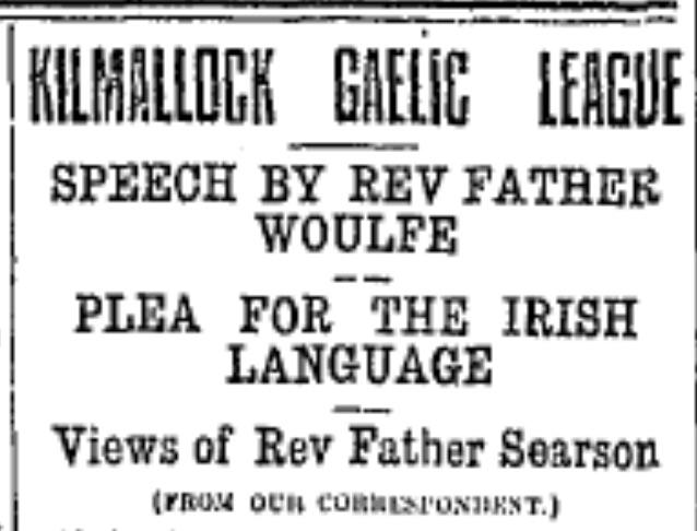 From the  Limerick Leader , November 10, 1916