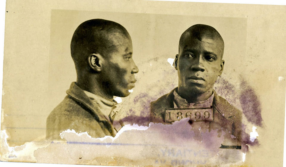 No photographs of John Henry James survive; this is Clifton Roberts, a convict in Richmond who, like many African American men, also answered somewhat the description (  Library of Virginia  ).
