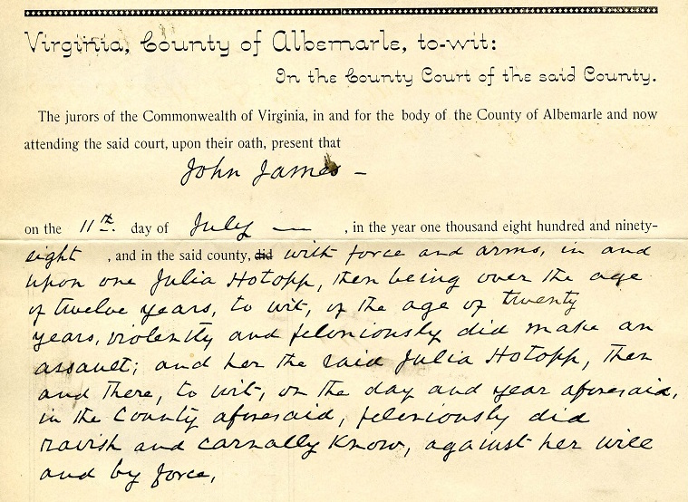 Indictment of John Henry James (  Library of Virginia  )