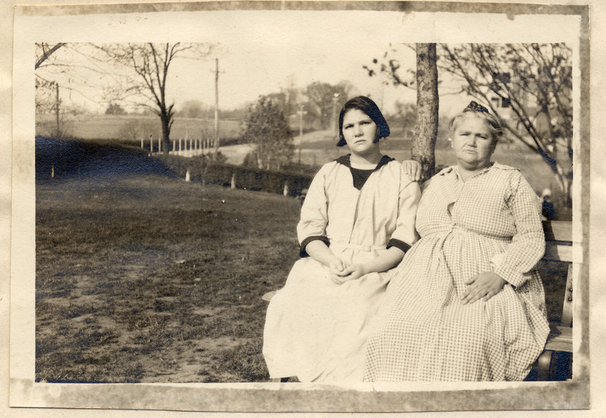 Carrie and Emma Buck  , on the grounds of the Virginia State Colony, in November 1924 (Arthur Estabrook Papers, Special Collections & Archives, University at Albany, SUNY)
