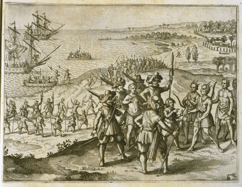 Negotiating Peace with the Indians   by Theodor de Bry, 1634 (Virginia Historical Society)
