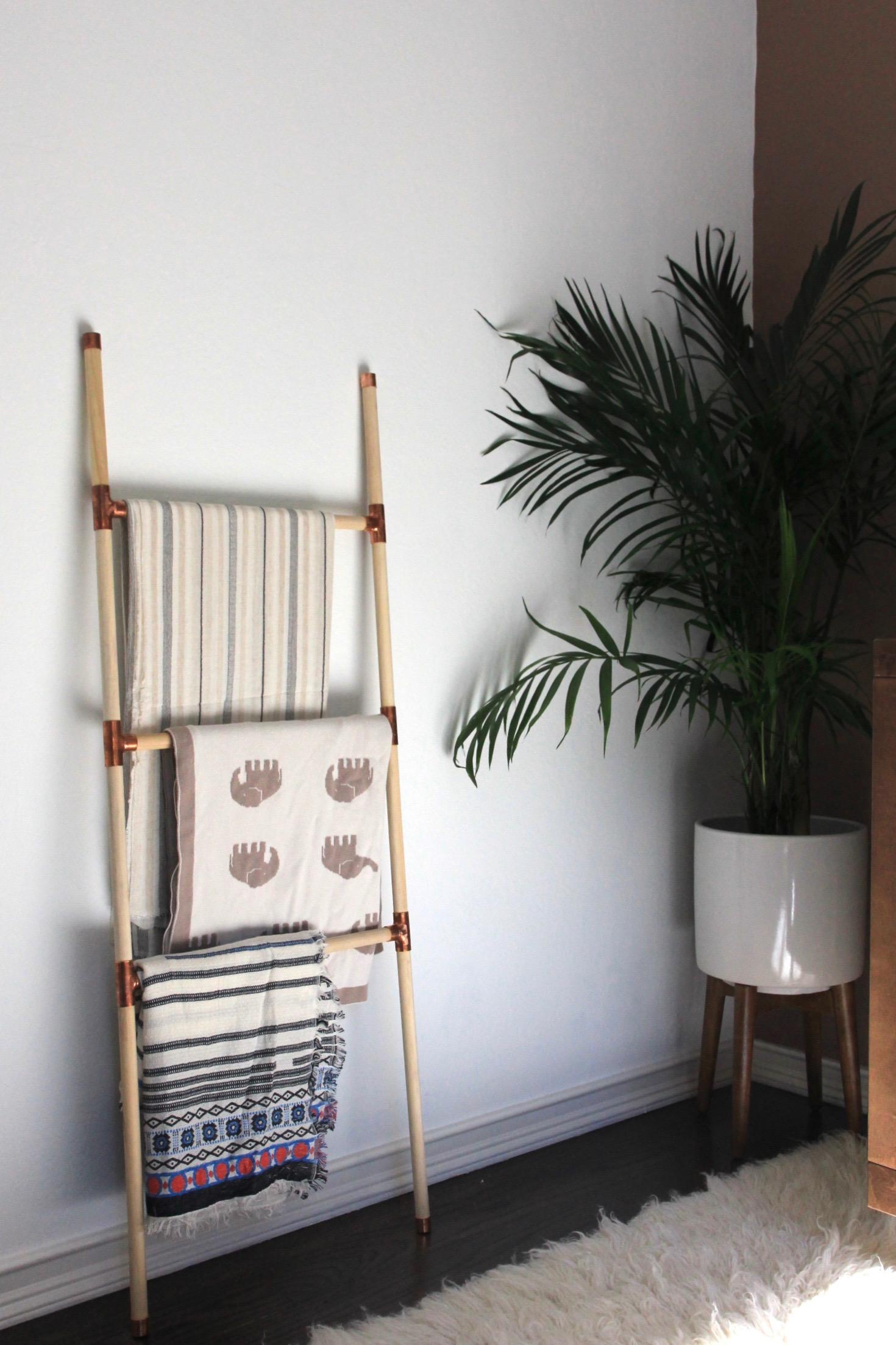 DIY blanket ladder, west elm planter