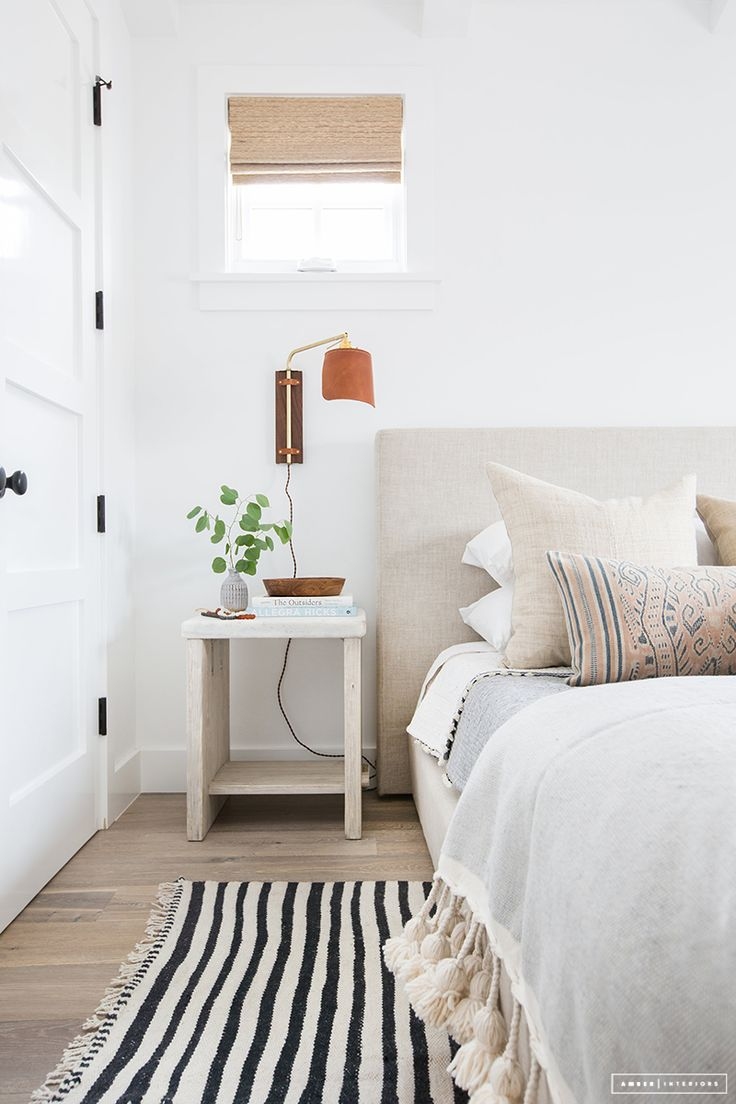 L O V E the brass and leather plug-in sconce used in this room by  Amber Interiors .