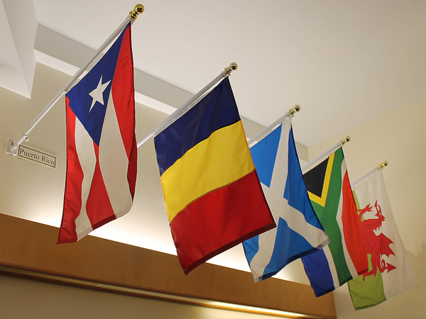 Flags of all of the people who attend from all over the world.