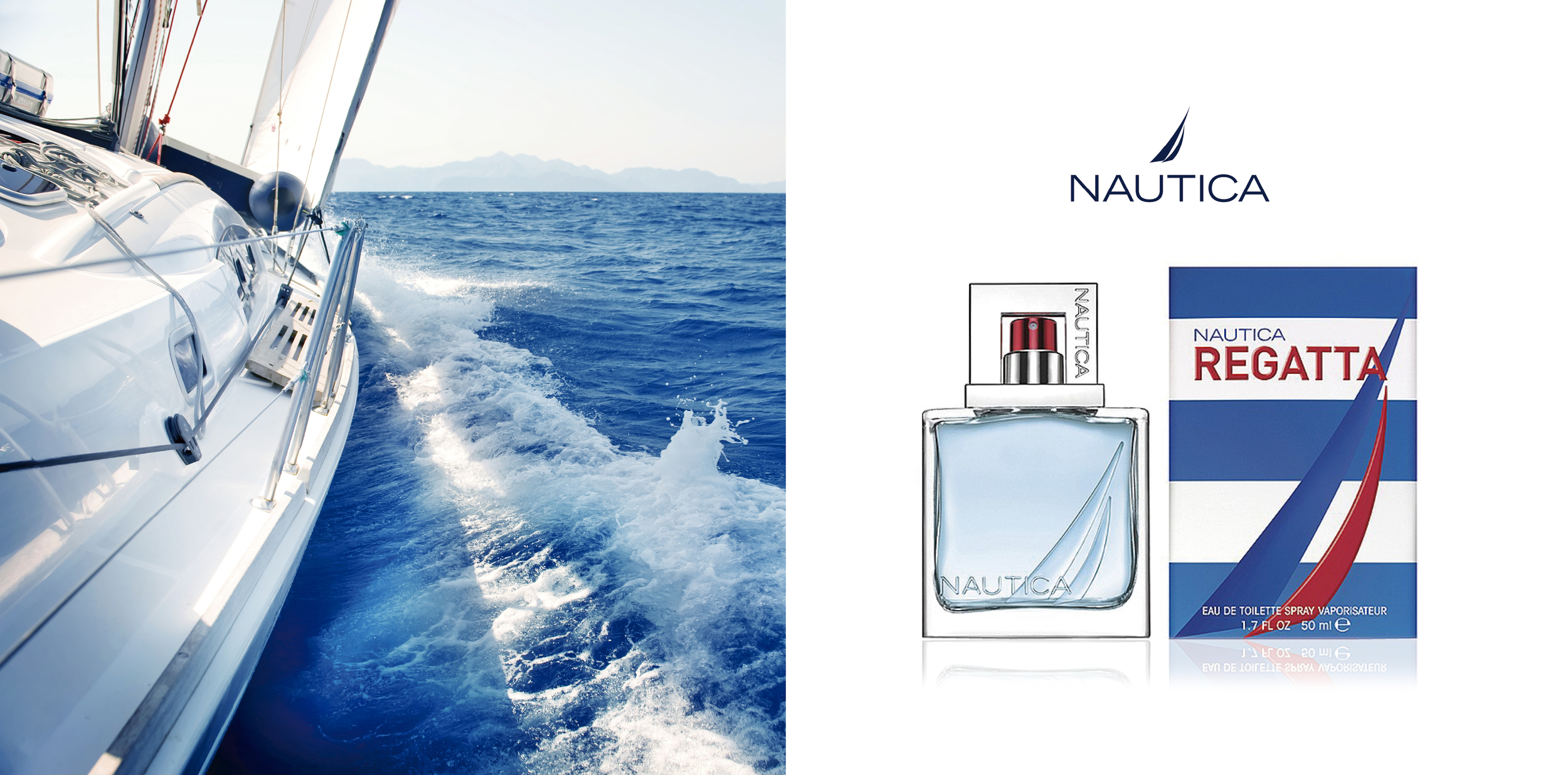 Nautica 'Regatta'.   Client:  Coty Beauty, NY   We Provided:  PACKAGING, BRAND DEVELOPMENT, STRATEGY.