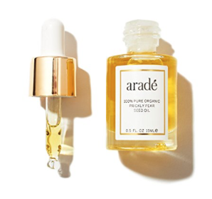 Prickly Pear Seed Oil 0.5 oz by Aradé Beauty - Aradé partners with Moroccan women through co-ops, paying fair wages to have the finest prickly pear extract produced from the local prickly pear plant crops. These women receive fair wages for their work and are able to give their families better lives due to our partnership. This is a 1/2 oz of organic prickly pear seed oil. ($60)