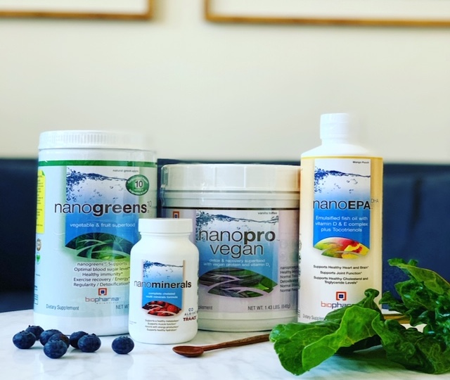 BioPharma Scientific Core 4 - You'll receive one nanogreens: Vegetable and Fruit Superfood, nanoEPA: Emulsified Fish Oil + Vitamin D and E Complex, nanopro: Protein + Detox and Recovery Superfood, and nanominerals: Complete Chelated Multi-Minerals. $194 value.
