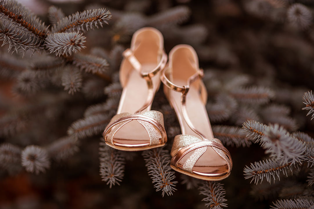 Ingliston country club winter wedding photography bridal shoes evergreen tree.jpg