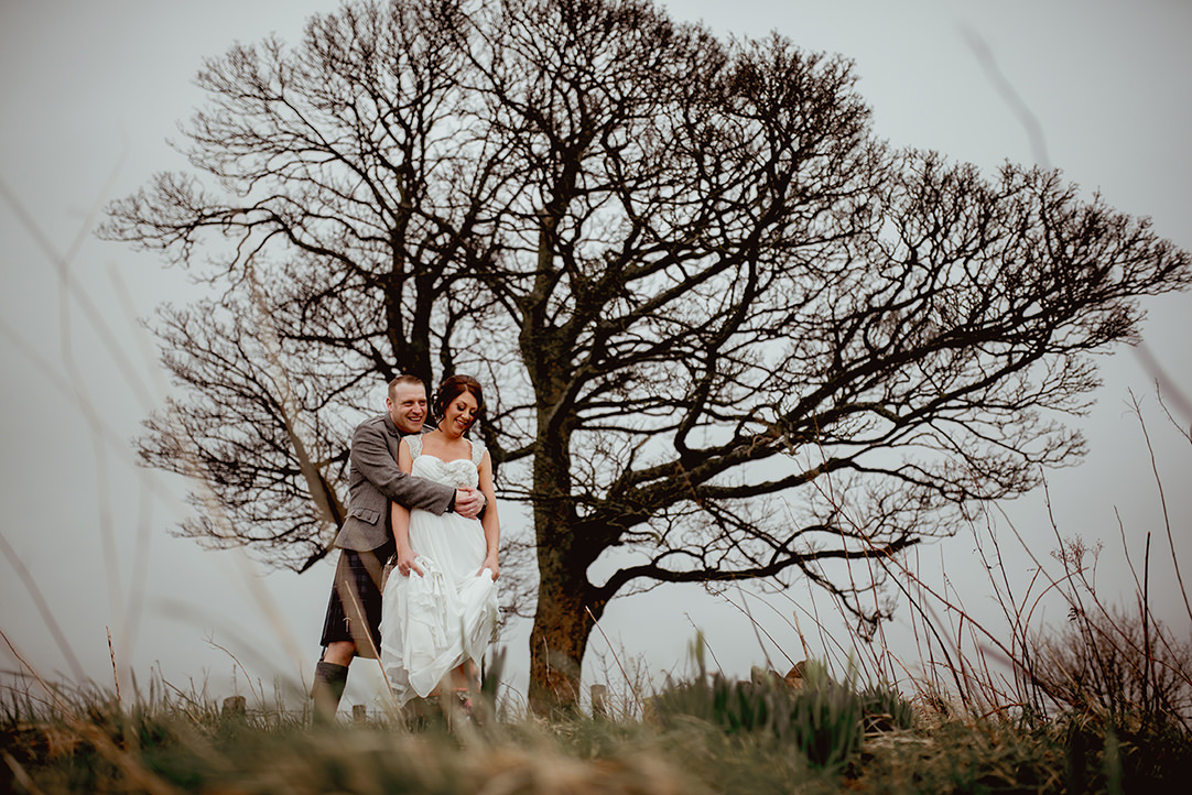dramatic wedding photography ingliston quirky alternative scottish countryside