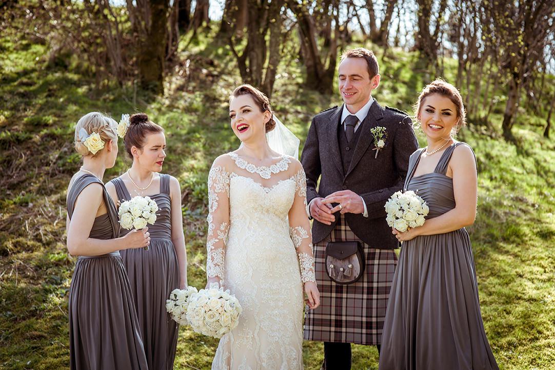 happy vintage dress bride glasgow scotland glenskirlie