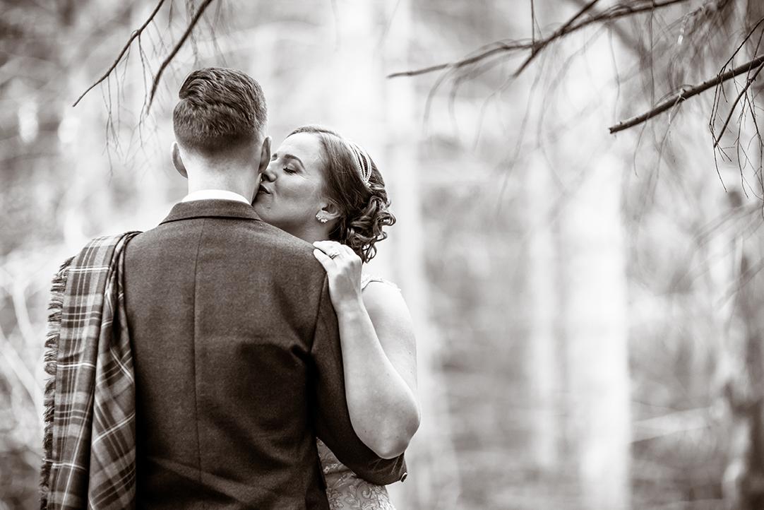 intimate romantic black and white wedding photography scotland