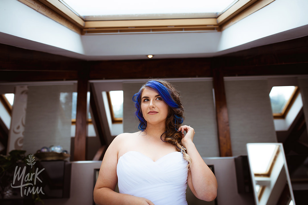 blue haired bride