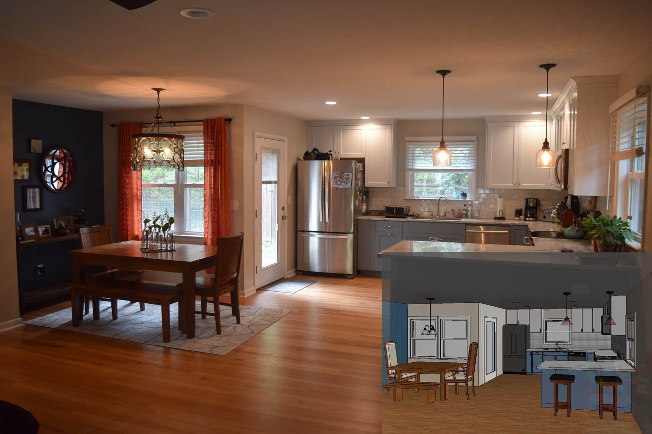 """Example of a finished kitchen addition along with the final design before construction started."""