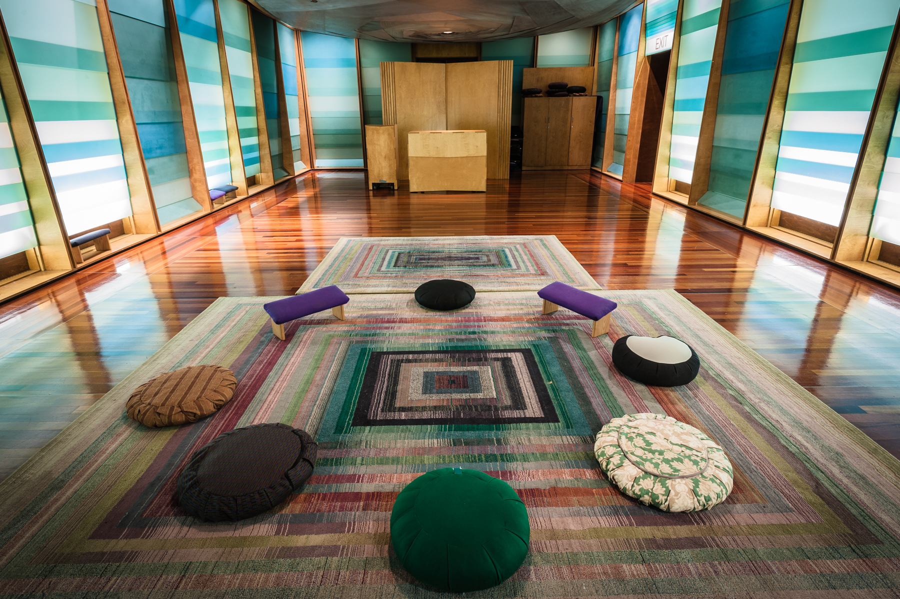 Meditation cushions arranged in the Sacred Space