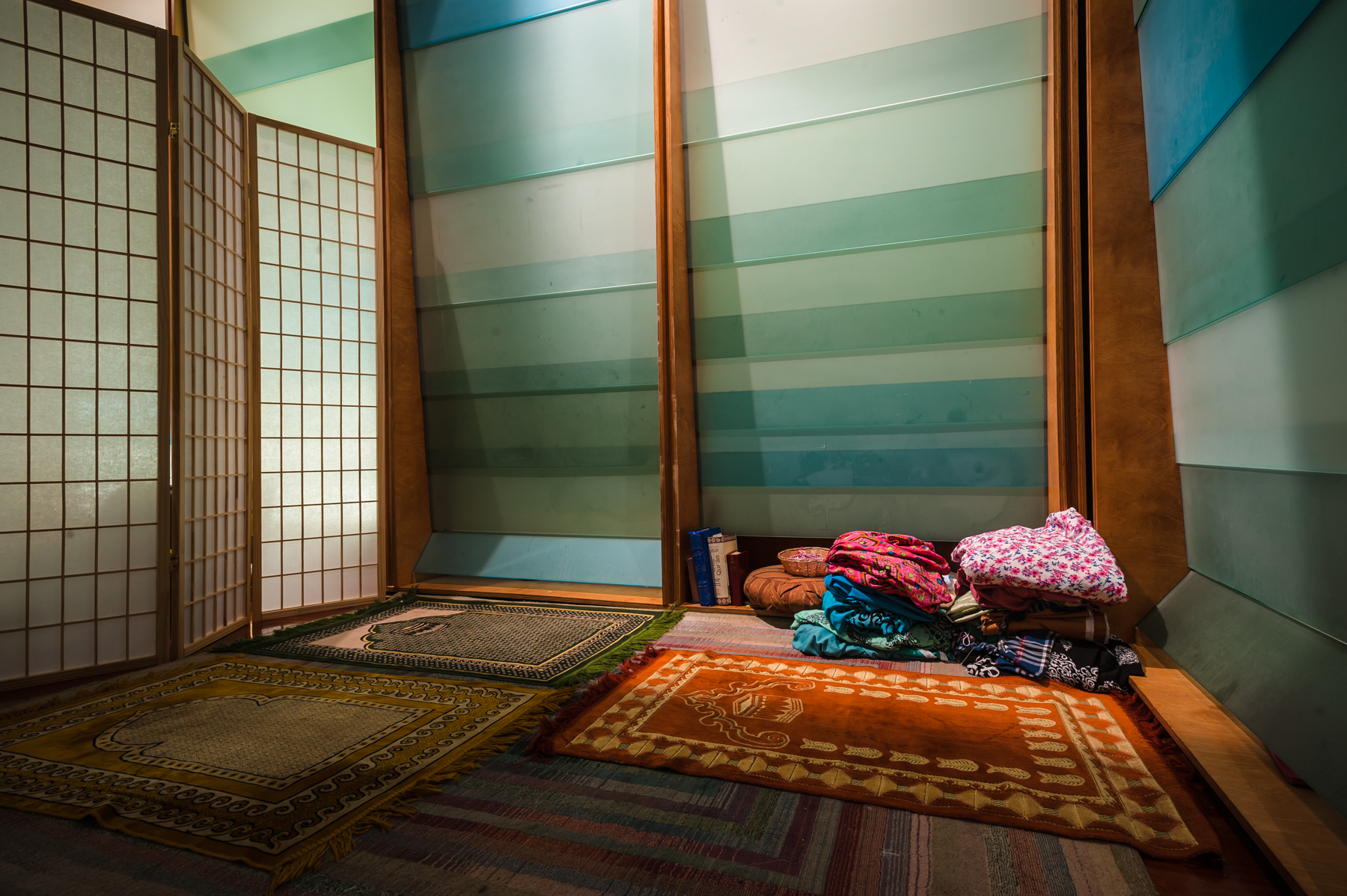 The area where Muslim women pray in one corner of the Sacred Space